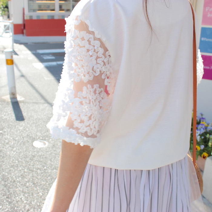 Arm flower デザイン Tops / White:Curly's Closet